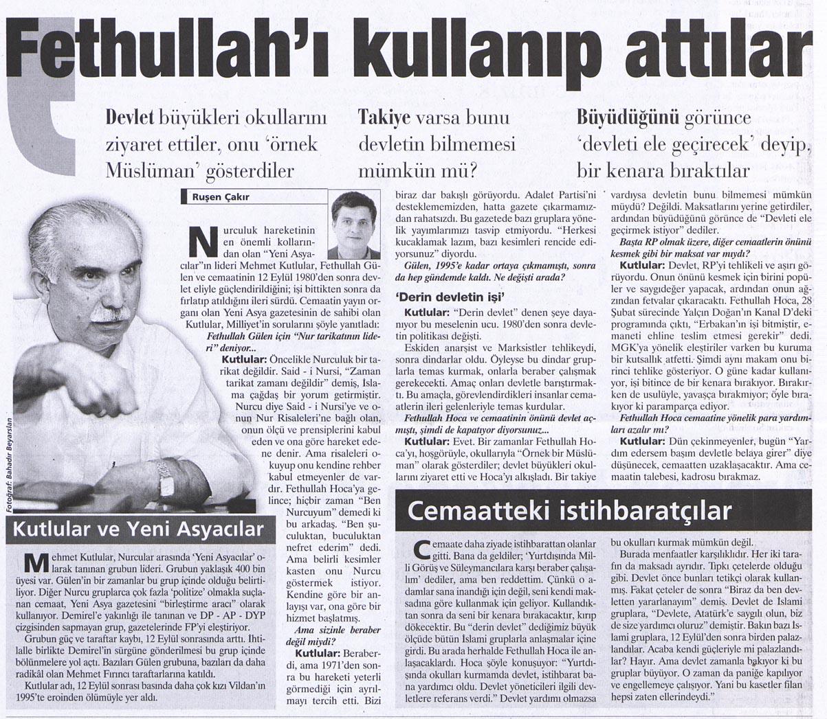 Fethullah Gülen'i kullanıp attılar